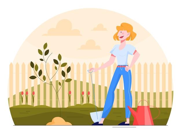 삽으로 정원에서 일하는 여자. 아름다운 여성 캐릭터 원예, 나무 심기.