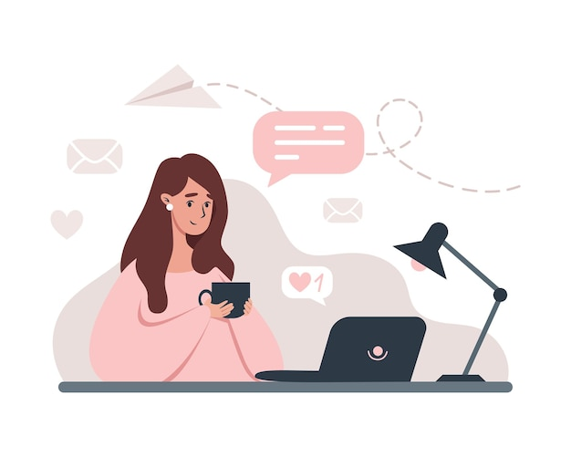 Woman working at laptop from home illustration