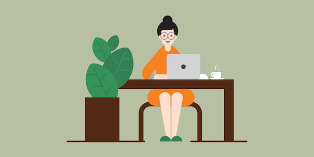 Woman working on laptop at home, work from home