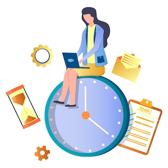 Woman working on laptop sitting on huge clock, flat vector illustration. time management, planning, scheduling, deadline