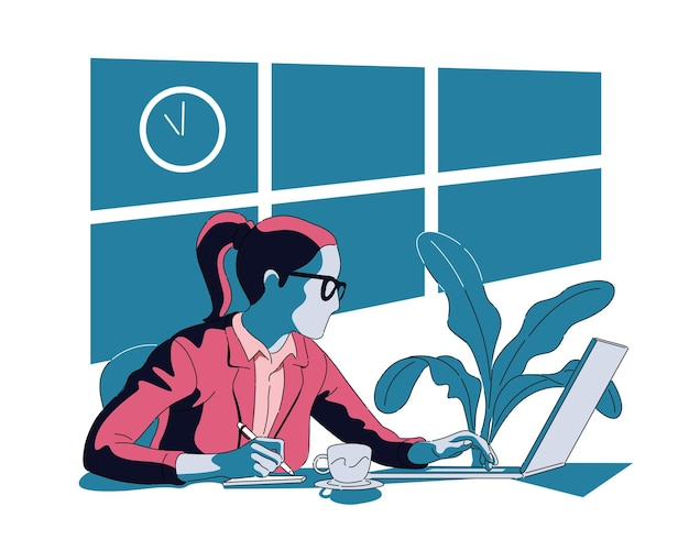 사무실에서 늦게 일하는 여성