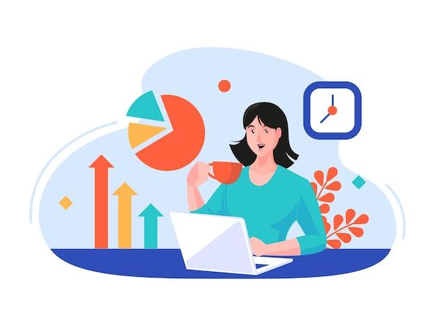 Женщина, работающая, делая отчет о данных