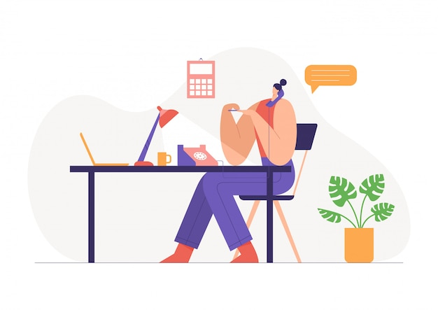 Woman working in office, talking on landline and doing a manicure. workflow concept.