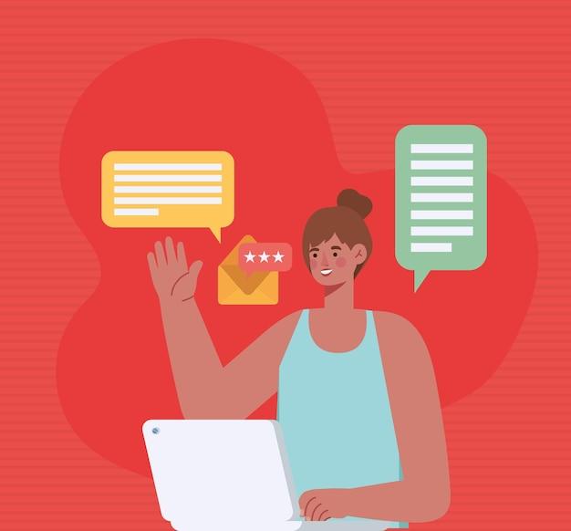 Женщина, работающая на ноутбуке