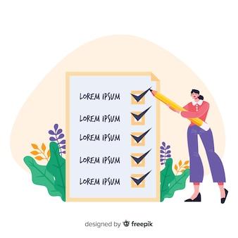 Женщина работает на фоне контрольного списка