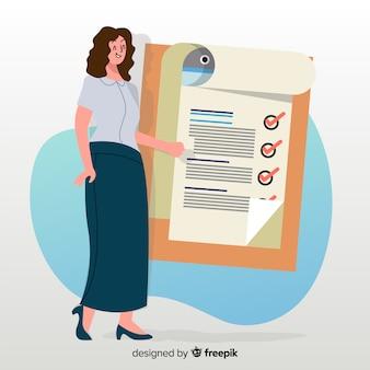검사 목록 배경 작업하는 여자