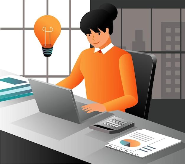 아이디어와 함께 컴퓨터에서 작업 하는 여자