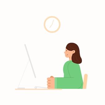 집에서 데스크톱 컴퓨터에서 작업하는 여자. 가정 개념에서 작동합니다. 여자 프리랜서, 집에서 일하는 디자이너. 코로나 바이러스 발생시자가 검역.