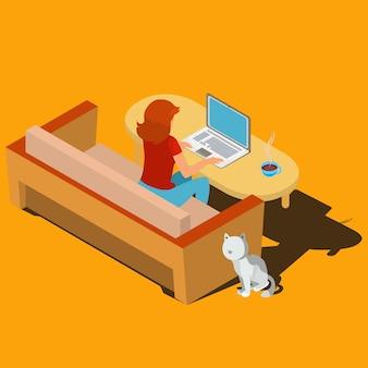 机のアイソメトリックベクトルでラップトップで働く女性
