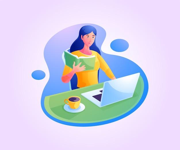 Женщина, работающая на ноутбуке дома