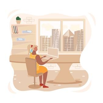 オフィスの図にラップトップで働く女性