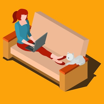 Woman working on laptop isometric vector