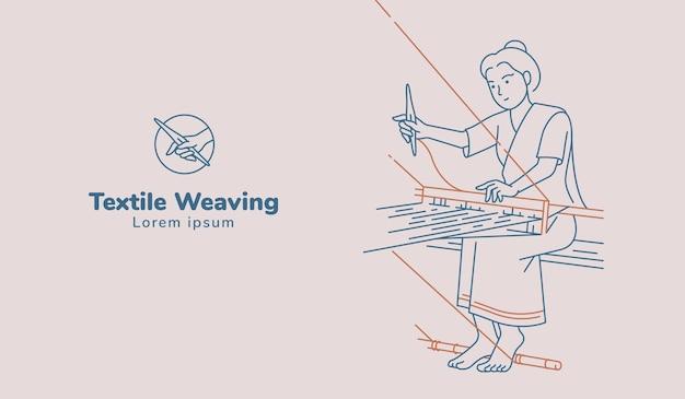 手織りのイラストを織りに取り組んでいる女性。線画。