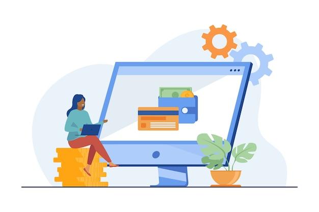オンラインで働いて利益を得ている女性。