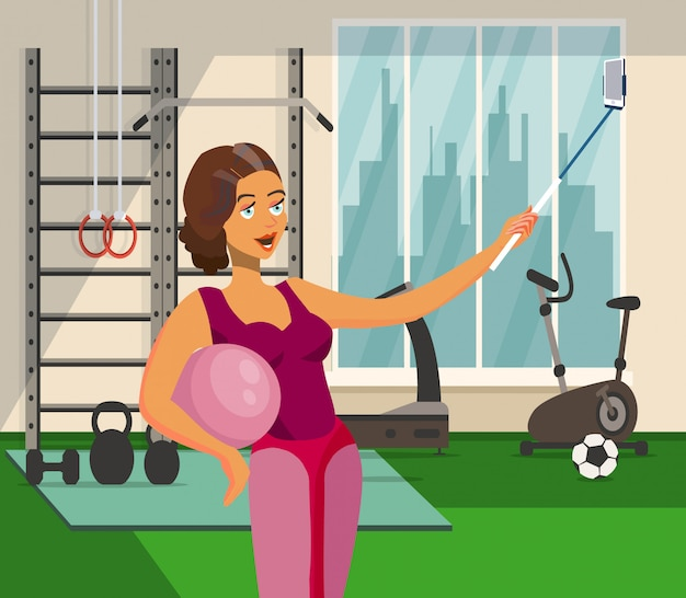 Woman working out in gym vector illustration.
