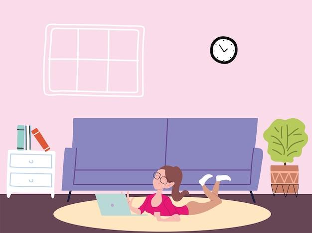 Женщина работает удаленно из своего дома иллюстрации