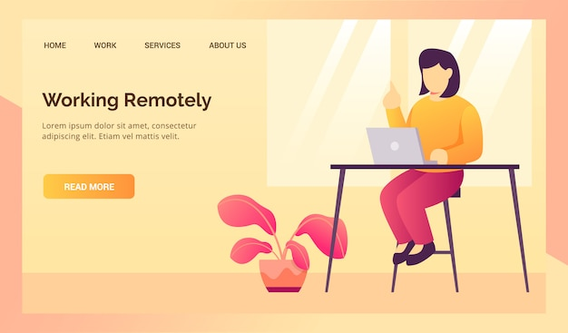 Woman working remotely from home during work from home for website landing homepage template banner