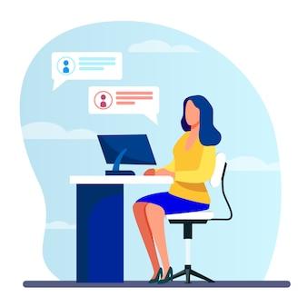 Женщина работает, печатает и отправляет сообщения
