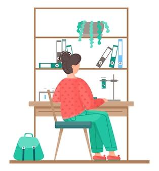 化学チューブ、フラスコ、液体で働く女性。棚付きのキャビネットの近くのテーブルに座って化学実験を行う女性