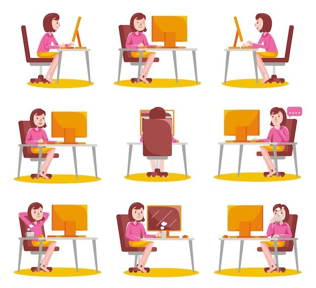 自宅でコンピューターを使用して作業している女性