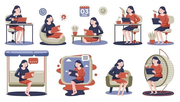 自宅でデジタルタブレットを使用している女性