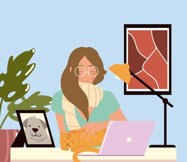 彼女のワークデスクでラップトップで働く女性、在宅勤務のイラスト
