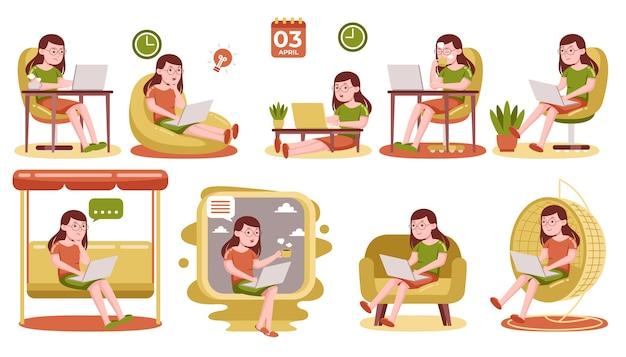 Женщина, работающая с ноутбуком дома