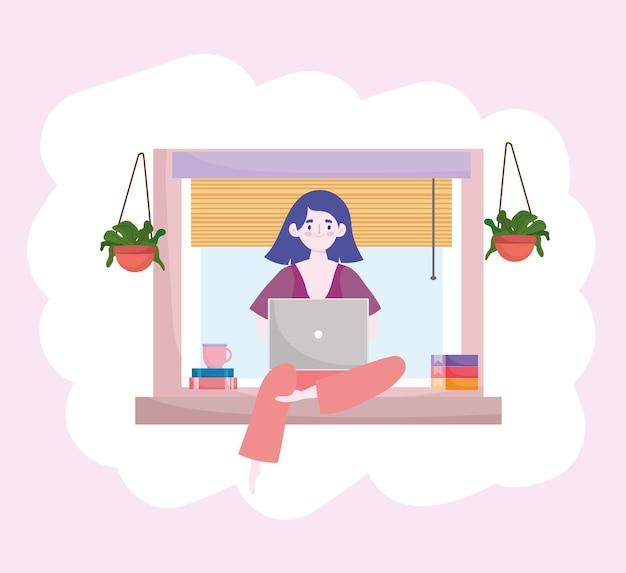 窓のホームオフィスホームオフィスのイラストに座っているノートパソコンの本で働く女性