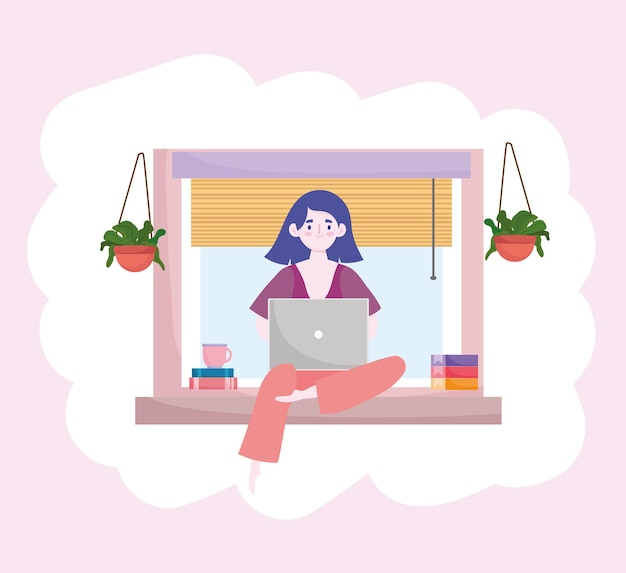 Woman working with laptop books sitting on window home office home office  illustration