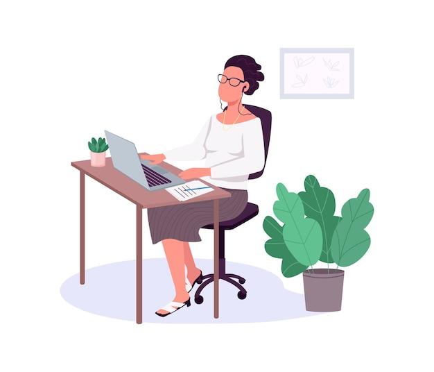 Женщина работает с ноутбуком плоский цвет безликий персонаж. женский офисный работник. бизнес-леди. рабочая обстановка. карьера девушка изолировала иллюстрацию шаржа для веб-графического дизайна и анимации