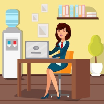 Woman working with laptop flat vector illustration