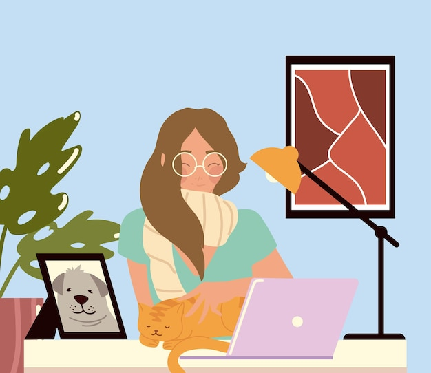 Woman working with laptop at her work desk, work at home  illustration