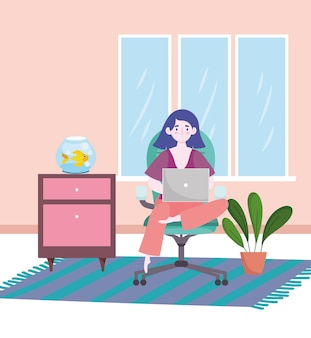 Woman working with laptop sitting on office chair at home home office  illustration