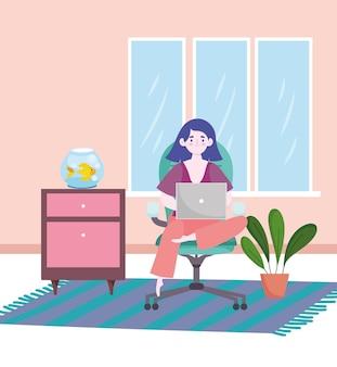 ホームホームオフィスのイラストでオフィスの椅子に座ってラップトップで働く女性