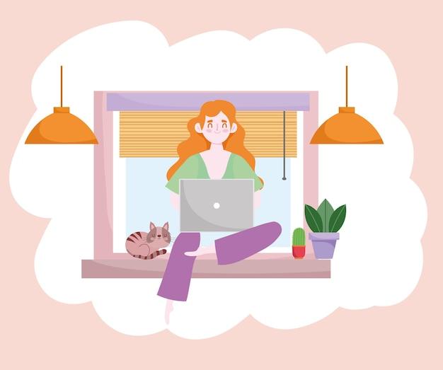 窓のホームオフィスのイラストに座っているラップトップで働く女性