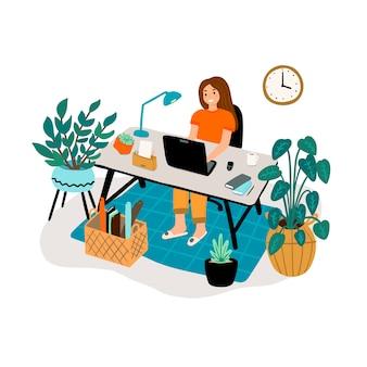 노트북으로 작업하는 여자
