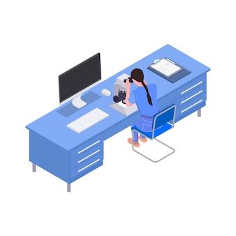 과학 실험실 아이소메트릭에서 현미경으로 작업하는 여자