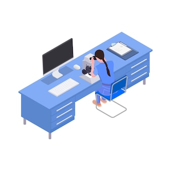 Woman working with microscope in science laboratory isometric