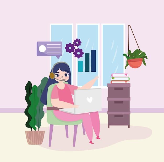 女性の作業ワークスペース