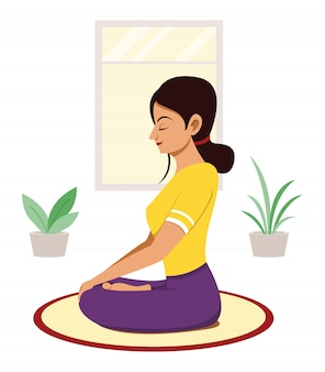 Woman workout by yoga meditation at home.