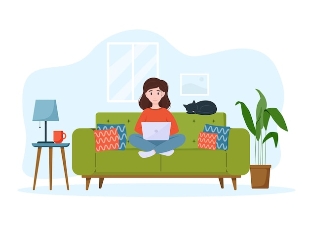 Woman works from home on the couch work from home concept freelance