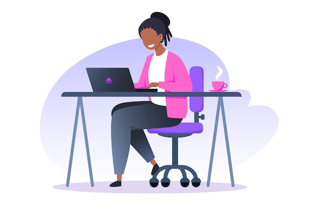 A woman works at a laptop and drinks coffee, home office, freelance and online training, education