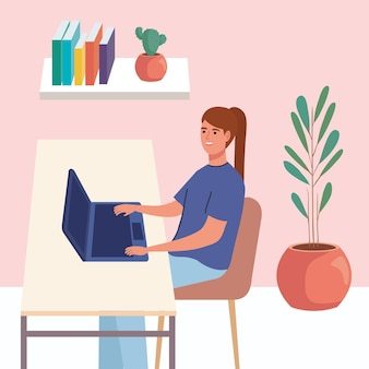 여자는 노트북에서 작동