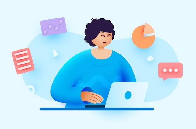 여자는 노트북 회계 및 분석 개념을 사용하여 컴퓨터 원격 작동을 사용하여 작동