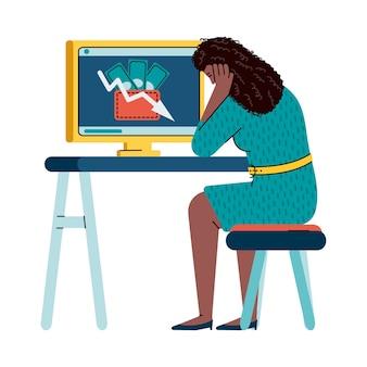 경제 위기에 대해 걱정하는 여자-슬픈 만화 소녀와 컴퓨터