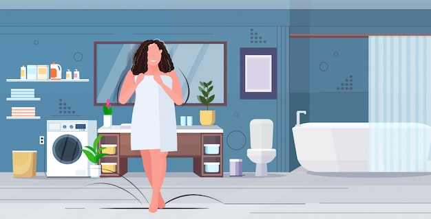 Woman wrapped with white towel overweight brunette girl standing after shower obesity unhealthy lifestyle concept modern bathroom interior flat full length horizontal