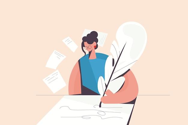 女性作家は紙に羽で詩を作成します