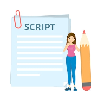 Woman writing script for movie or blog. girl standing
