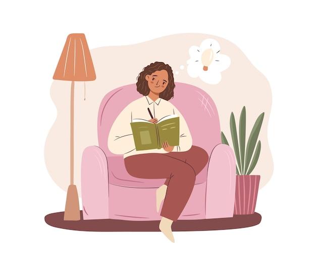안락의자 개념에 앉아 글을 쓰는 여자