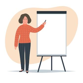フリップチャートに書いている女性。フリップチャートの近くにマーカーで立っている実業家